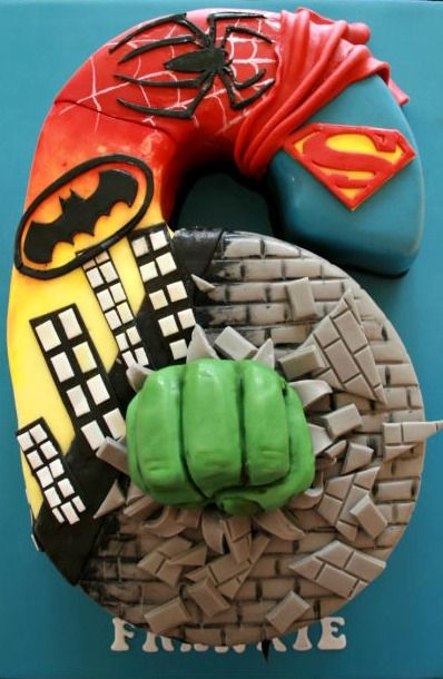Number 6 Super Hero Cake - For all your cake decorating supplies, please visit craftcompany.co.uk