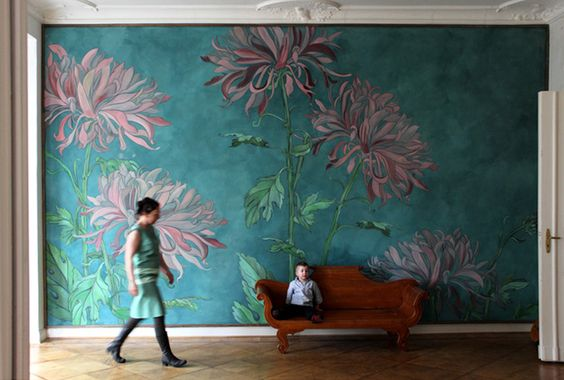 Mimose wall decoration, latex painting on canvas by Berlin based Atelier Wand-lungen