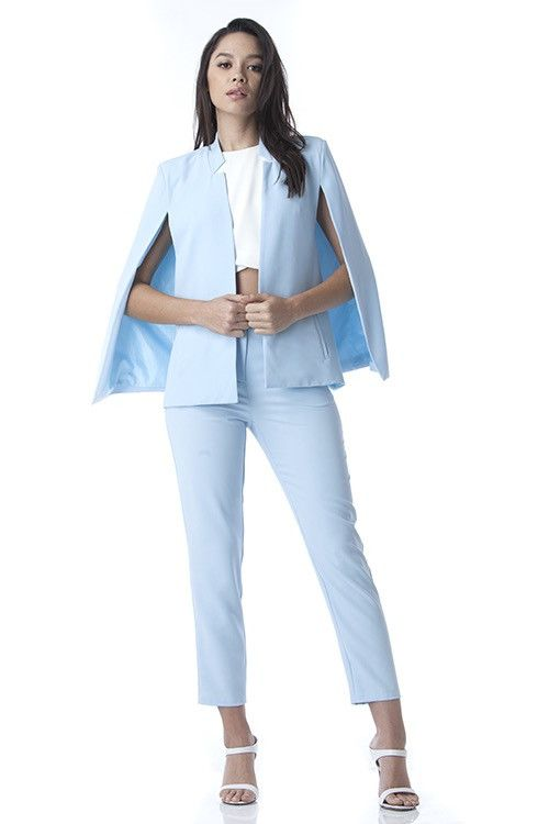 Take over the world in style! Our Working Girl Cape Blazer Pant Set is a must have in your wardrobe. Featuring an open cape blazer with side pockets, classic pa