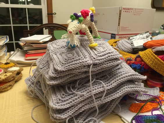 textured crochet squares, crochetbug, crochet goat, amigurumi goat, new year's goat,
