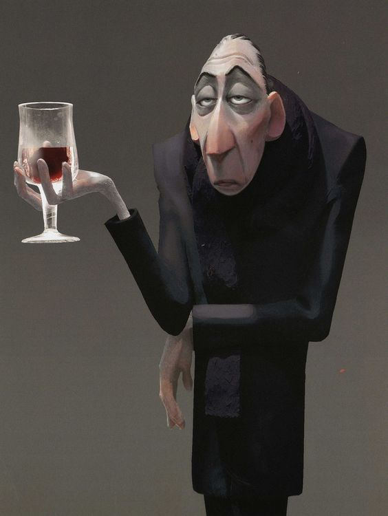 *Anton Ego (the food critic) needs to drink the wine to put a smile on his face.  (Disney's Ratatouille)   ( :