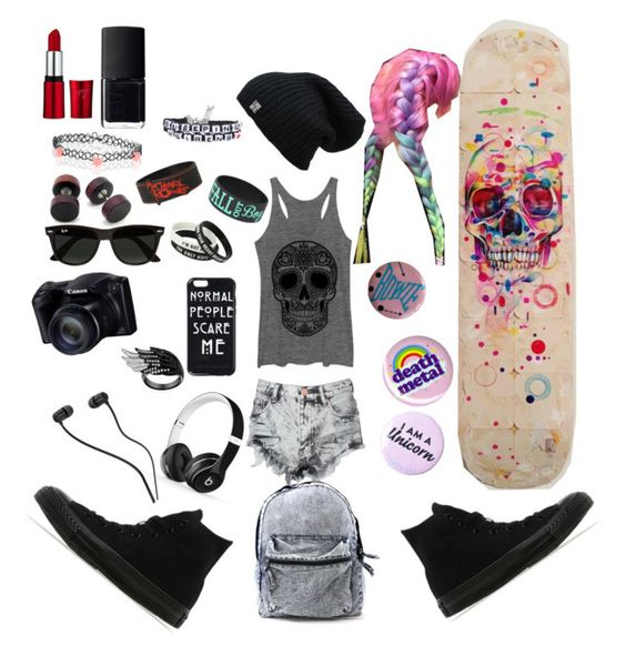 """""""Skater Girl"""" by frankoero ❤ liked on Polyvore featuring beauty, Glamorous, Converse, Accessorize, Beats by Dr. Dre, Ray-Ban and NARS Cosmetics"""