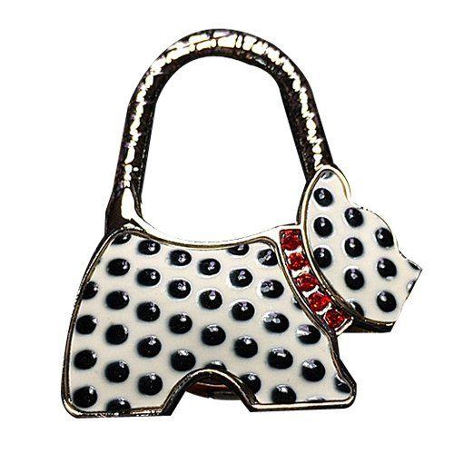 YOKIRIN Schwarz Punkt Weiß Hund RZinklegierung Dekorative Taschenhaken & Handtaschenhalter als perfekte Geschenkidee für Frau, Freundin, Mutter und Tochte