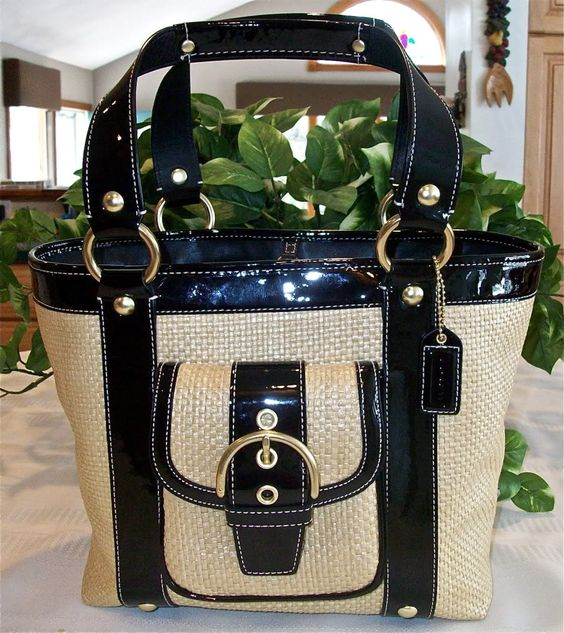 Coach Soho straw and patent leather tote