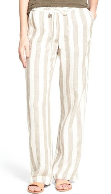 striped linen drawsring pants
