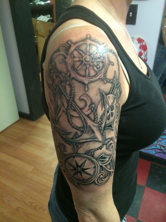 Black and grey, compass tattoo, nautical tattoo, half ...
