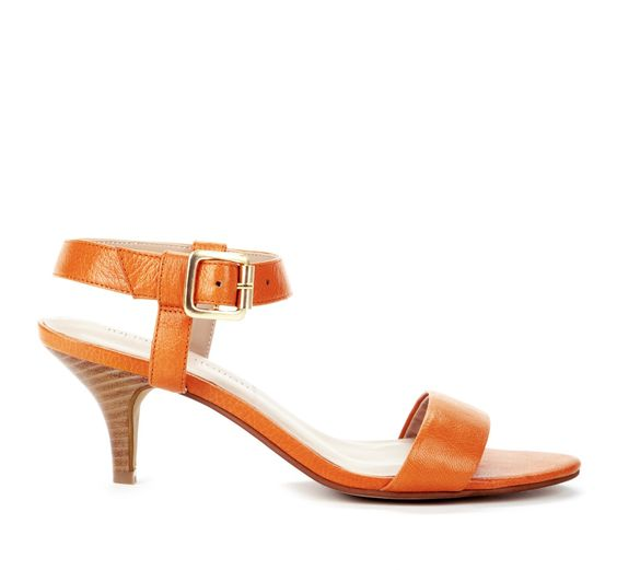 This orange kitten heel sandal would be the cat's meow with the ...