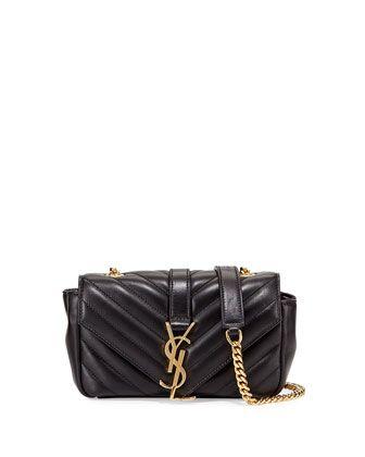 yves saint laurent shoulder bag small - V Flap Lambskin Leather Mini Crossbody Chain Bag, Black by Saint ...