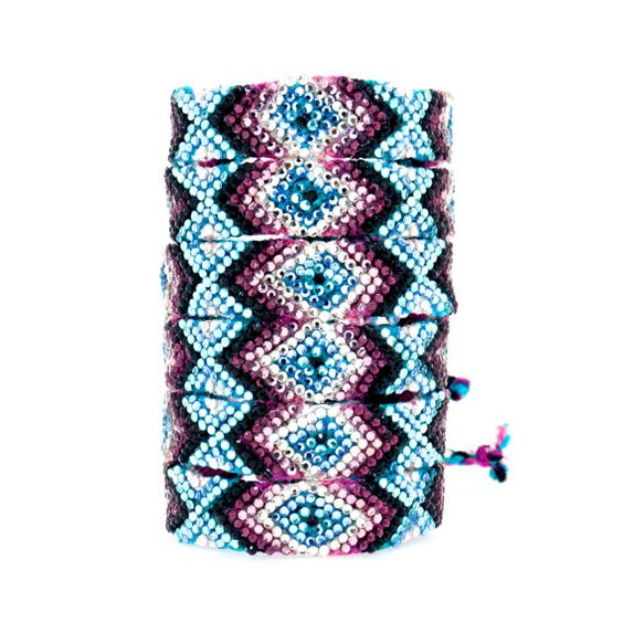 Le cristal Swarovski amitié Bracelet - Primrose Design Original (violet, Aqua, rose & noir)