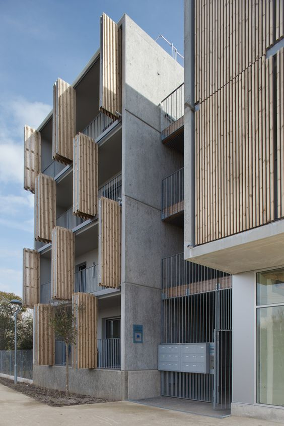 Wood Elevation Uk : Gallery of social housing shops in mouans sartoux