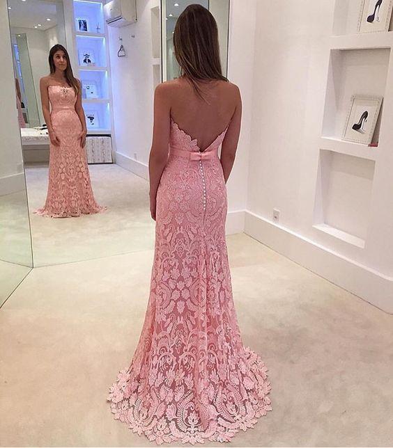 Vestido renda Rosa longo