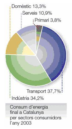 Consumo de energia final en cataluña por sectores consumidores en el año 2003