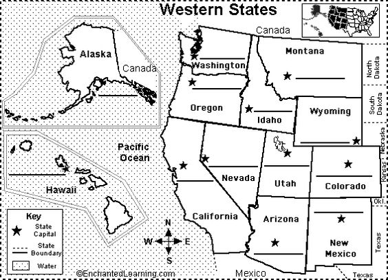western US state capitals to label Classroom – Map Usa Quiz Capitals