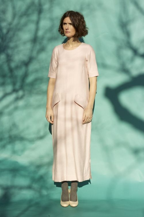 Long dress with sleeves.