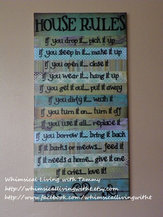12x24 Whimsical House Rules Sign Teal Green Wall Hanging
