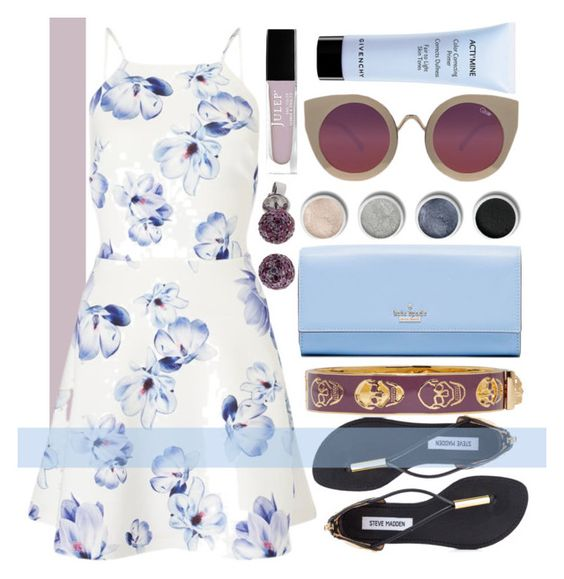 """Untitled #613"" by ssm1562 ❤ liked on Polyvore featuring Lipsy, Steve Madden, Kate Spade, Terre Mère, Alexander McQueen, Effy Jewelry, Quay, Julep, Givenchy and napa"