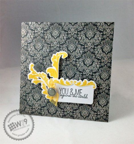 Kerrianne Gwin for Wplus9 featuring Damask Delight stamps and dies, and Quite Like You stamps.