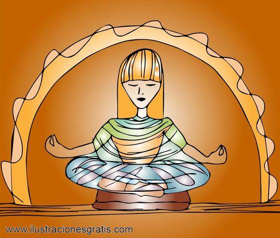 Ilustración gratis - Mujer meditando en posición de loto