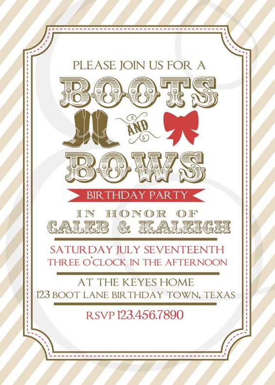 Boy And Girl Boots And Bows Birthday Invitation By