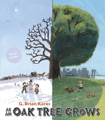 As an Oak Tree Grows by G. Brian Karas is a rather profound picture book that follows the life of a tree as it grows from a seed planted in 1775 to the center of a very bustling community. The tree is always positioned in the center of the book spread, allowing the young reader to really see how the landscape changed with passing time and growing technology.