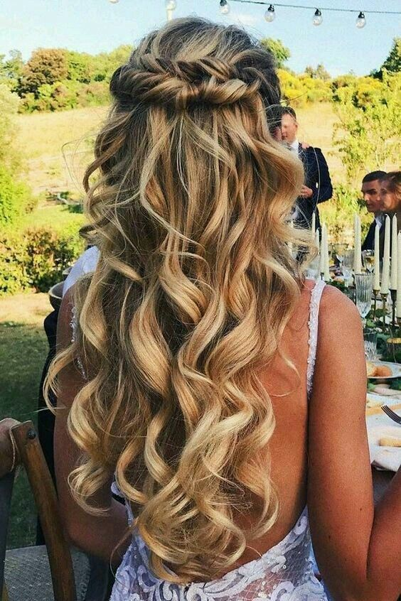 Curly Blonde Hair Style Ideas Cute Wedding Hairstyles L Easy Braided Highlighted Hairstyles Hair Hairstyle Wedding Hairstyles For Long Hair