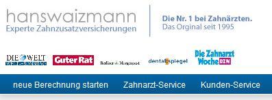 Nr. 1 Preisvergleich & Experte Zahnzusatzversicherung (seit 1995) HansWaizmann.de