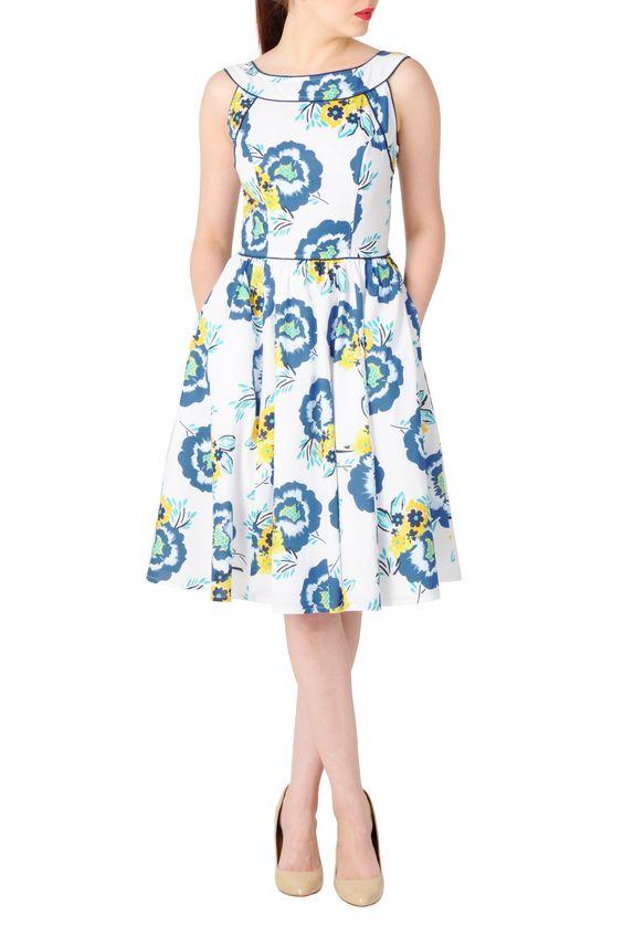 eShakti Women's Floral print piped trim dress 3X-24W Short White/navy multi