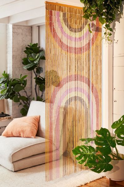 Hippie home decor Gypsy decor Interior design Work office design Office designs Junk gypsy decorating Beaded curtains Design Gothic home Bohemian living Get 70s with this hand-painted beaded bamboo curtain featuring a dual rainbow print. Use it every way you can think of as a semi-sheer room divider, behind a bed or bar, as a window treatment, entryway portal, closet curtain, between bed posts and more!Content + Care. Wood Wipe clean Imported Size. Dimensions: 79l x 35w Rainbow Bamboo
