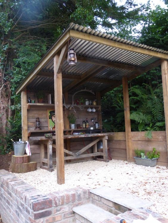 Pergola with corrugated metal roof renovation landscape for Outdoor kitchen gazebo design