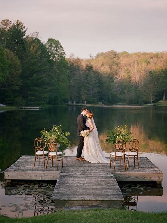 lakeside ceremony | Davy Whitener  outdoor weddings #outdoor  - Outdoor weddings Fall Wedding Inspiration at Half-Mile Farm - Southern Weddings