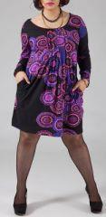 Robe courte femme pulpeuse Ethnique et Originale Kadia Violette est disponible sur le site www.akoustik-online.com.