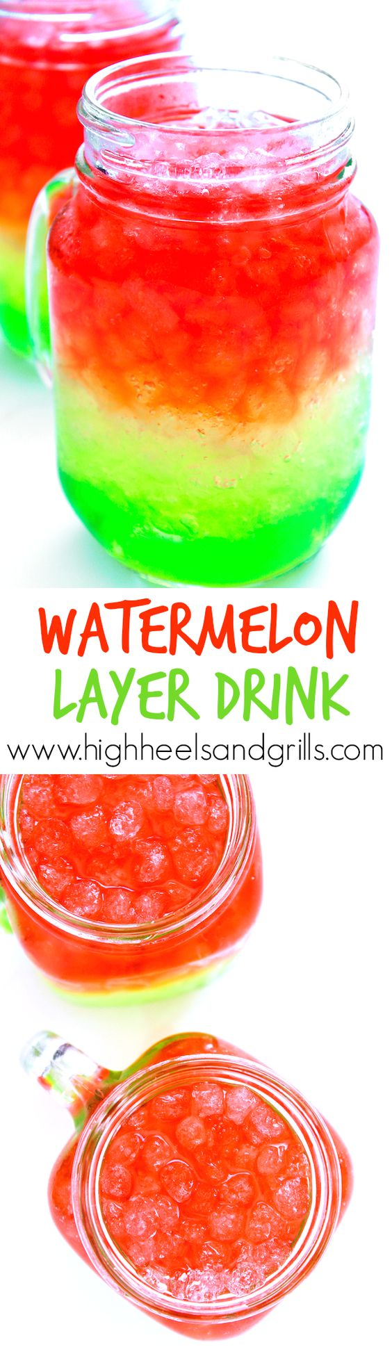 Watermelon Layer Drink - Such a cute, summery drink! Would be great for a watermelon themed party or BBQ.