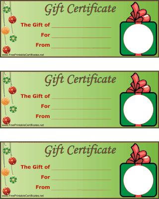 A set of three identical gift certificates with an ornament and - printable christmas gift certificate