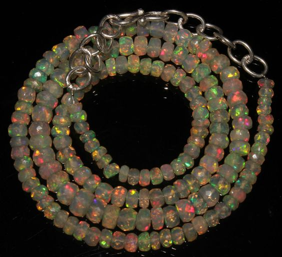 "48 Crts 1 Strands 3 to 6 mm 18""Faceted Beads Ethiopian Welo Fire Opal  AA++1116"
