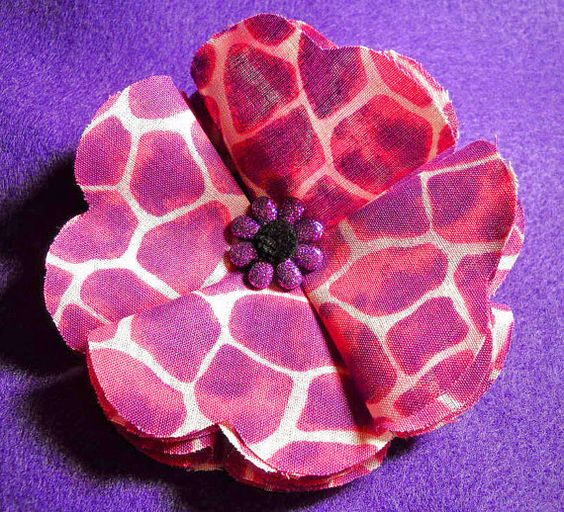 Large Purple and Pink Giraffe Fabric Flower Hair by DaziesHead2Toe, $6.00