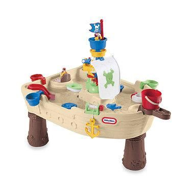 With the Anchors Away Pirate Ship, your child and friends will enjoy two fun characters, a squirting shark and a running water fountain.