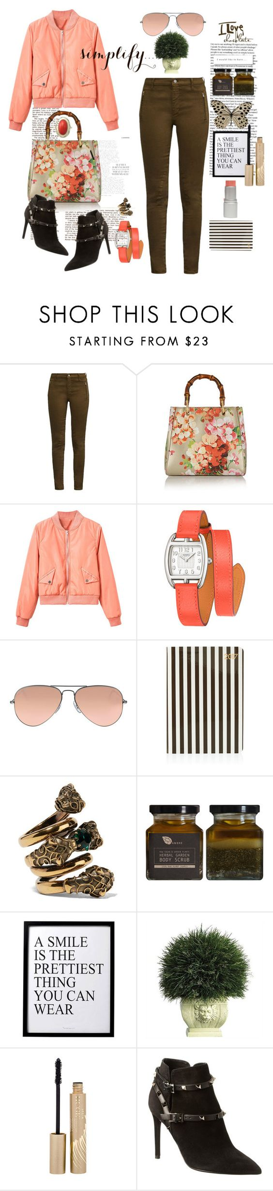 """A SMILE IS THE PRETTIEST THING YOU CAN WEAR!"" by k-hearts-a ❤ liked on Polyvore featuring French Connection, Gucci, WithChic, Hermès, Ray-Ban, Henri Bendel, AMBRE, 3R Studios, Nearly Natural and Stila"