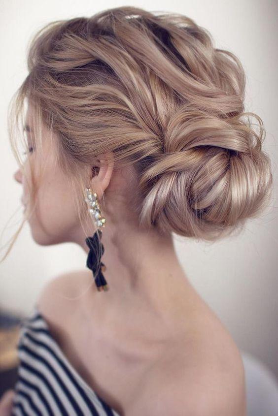 Wedding Hairstyles For Thin Hair Low Bun In Waves On Blond Hair Tonya Pushkareva Via Insta Wedding Hair Inspiration Hairstyles For Thin Hair Wedding Hairstyles