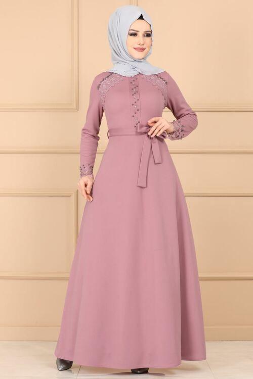 Modaselvim Elbise Dantel Detay Tesettur Elbise Pl828 Pudra Dengan Gambar Model Pakaian Muslim Pakaian Perkawinan