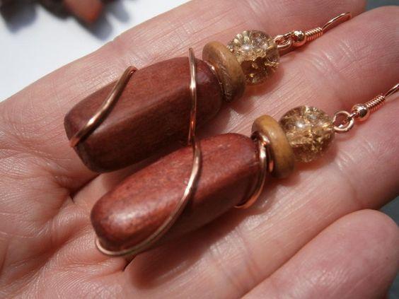 Ohrringe,Holz an Kupfer,wirework, von kunstpause auf DaWanda.com