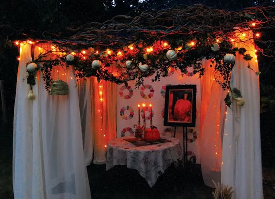 I'm not Jewish but I had ancestors who lived in Israel long ago. I love that heritage and built this sukkah out in the yard. With glowing lights it had such a romantic feel I wanted to invite people over for dinner and a visit.: