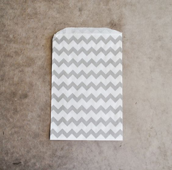 gray and white chevron zig zag paper  bags (10 bags). $5.00, via Etsy.
