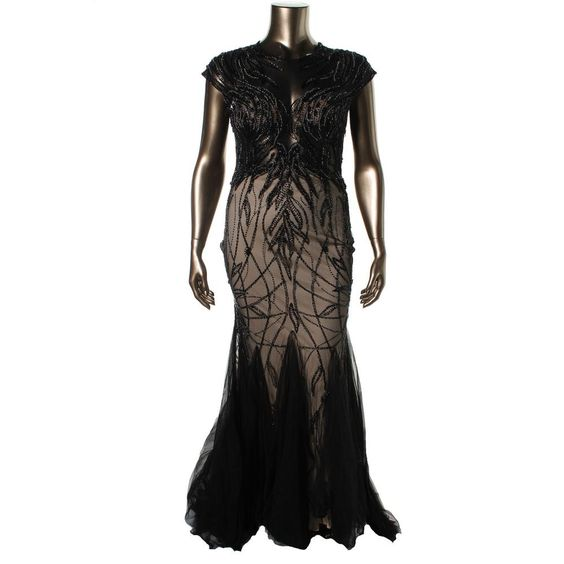 Terani Couture Womens Embellished Sheer Formal Dress