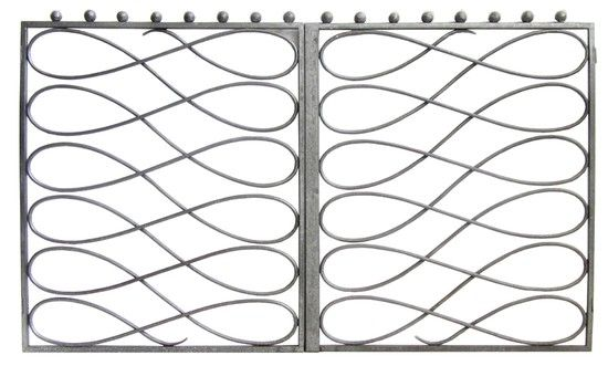 Pair Of French Art Deco Wrought Iron Gates Style Of Subes | Modernism