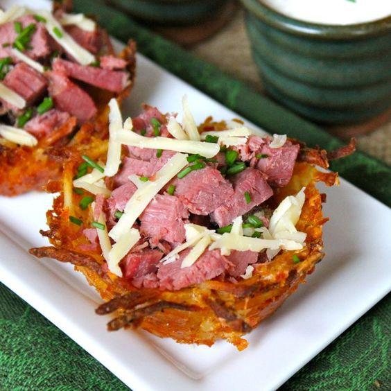 Corned Beef & Irish Cheddar Potato Nests with Spicy ...