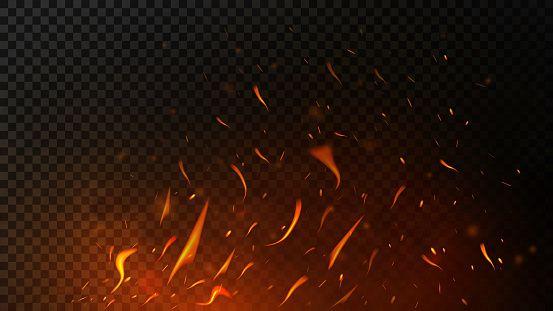 Fire Sparks On Dark Transparent Background Flying Up Sparks Burning Smoke Texture Blur Photo Background Transparent Background