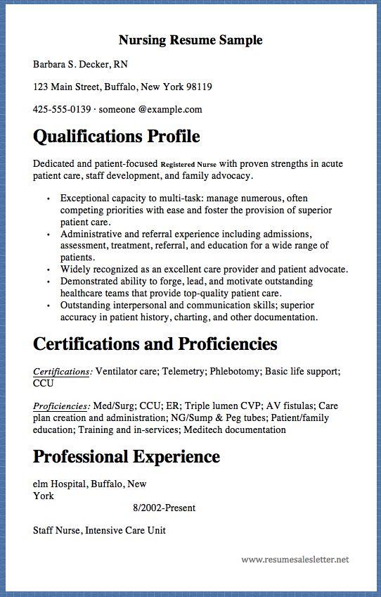Nursing Resume Sample Barbara S Decker, RN 123 Main Street - strengths in resume