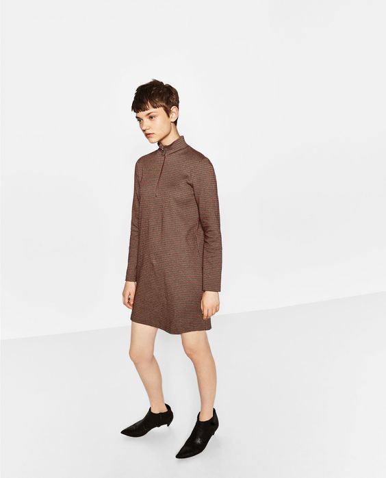 ZARA - WOMAN - HIGH NECK ZIPPED DRESS