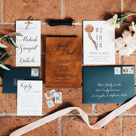 Jewel Tones and Rust Fall Wedding Colors #autumnwedding #color fall wedding ideas, fall bouquet, rust wedding color , jewel tones wedding color #wedding #fallwedding navy and copper with leather wedding invitation suite
