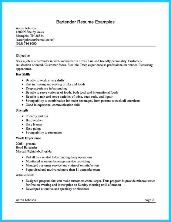 Awesome Impress The Recruiters With These Bartender Resume Skills